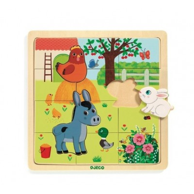 Djeco-01814 Holzpuzzle - Puzzlo Farm
