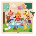 Djeco-01815 Holz-Rahmenpuzzle - Puzzlo Happy