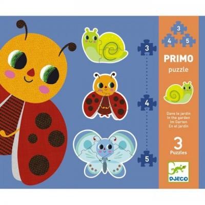 Djeco-07141 3 Puzzles - Im Garten