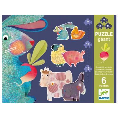 Djeco-07145 6 Puzzles - Löwenzahn & Freunde