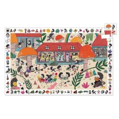 Djeco-07595 Entdecker Puzzle - Schule der Igel