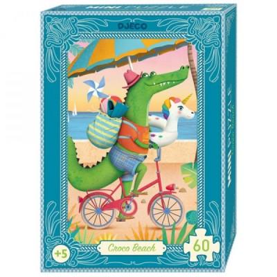 Djeco-07678 Mini Puzzle - Croco Beach