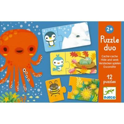 Djeco-08156 Duo Puzzle - Verstecken spielen