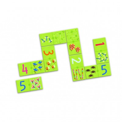 Djeco-08168 Domino Puzzle - Eins, Zwei, Drei
