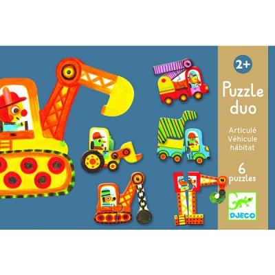 Djeco-08170 2 Puzzles - Articulo véhicule