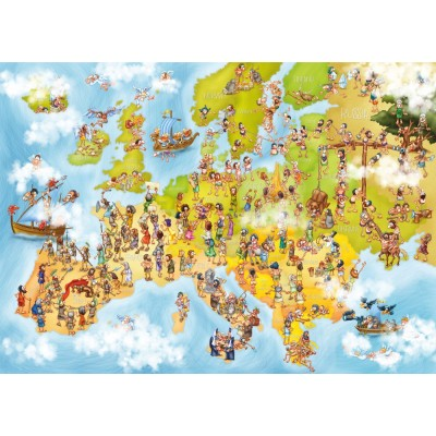 Puzzle  Deico-Games-76120 Cartoon Collection - Europakarte