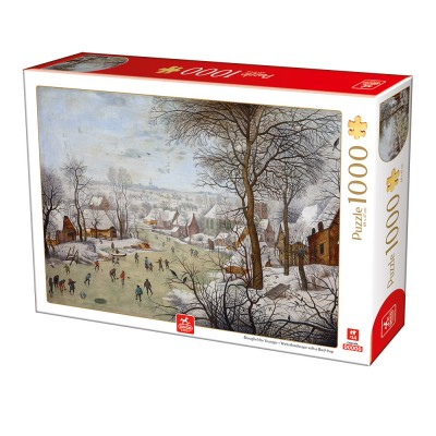 Puzzle Deico-Games-76656 Breughel the Younger - Winterlandscape with a Bird Traps