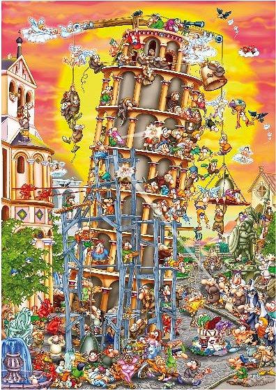 Puzzle  Dtoys-61218 Cartoon Collection: Der schiefe Turm von Pisa, Italien