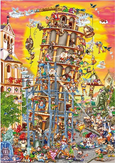 Puzzle Dtoys-61218-CC01-(61218) Cartoon Collection: Der schiefe Turm von Pisa, Italien