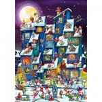 Puzzle  DToys-61218-CC07 Cartoon Collection: Weihnachtsrummel