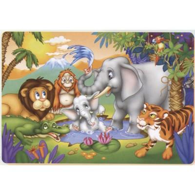 Puzzle  Dtoys-61430-AN-03 Der kleine Elefant unter der Dusche