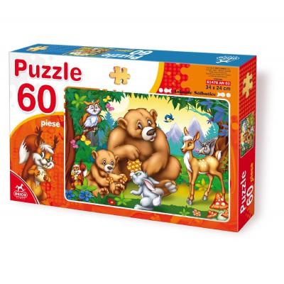 Puzzle  Dtoys-61478-AN-03 Familie Bär mit anderen Tieren aus dem Wald