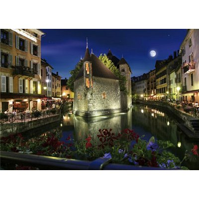 Puzzle  DToys-64301-NL06-(70531) Bei Nacht - Frankreich: Annecy
