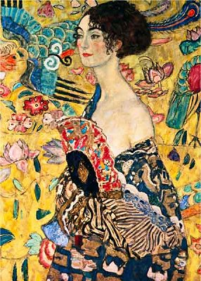 Puzzle DToys-66923-KL03-(70159) Gustav Klimt: Frau mit Fächer