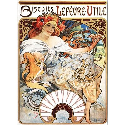 Puzzle  DToys-66930-MU04-(70098) Alphonse Mucha: Biscuits Lefèvre-Utile