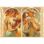 Puzzle  DToys-66930-MU06-(70074) Alphonse Mucha: Früchte und Blumen