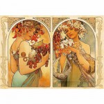 Puzzle  DToys-66930-MU06 Alphonse Mucha: Früchte und Blumen