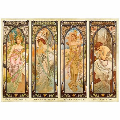 Puzzle  DToys-66930-MU08 Alphonse Mucha: Die Momente des Tages
