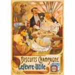 Puzzle  DToys-67555-VP05 Vintage Posters: Biscuits Champagne Lefevre-Utile