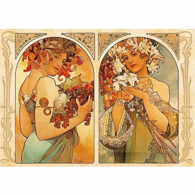Puzzle  Dtoys-70074 Alphonse Mucha: Früchte und Blumen