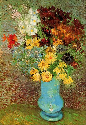 Puzzle  DToys-70258 Van Gogh: Blumen in blauer Vase