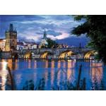 Puzzle  DToys-70500 Bei Nacht - Tschechien: Prag