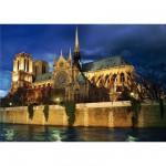 Puzzle  DToys-70517 Bei Nacht - Frankreich, Paris: Notre Dame de Paris