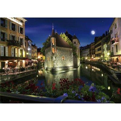 Puzzle  DToys-70531 Bei Nacht - Frankreich: Annecy