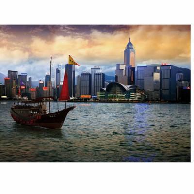 Puzzle  DToys-70548 Bei Nacht - Bucht von Hongkong