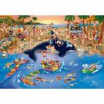 Puzzle  Dtoys-70876 Cartoon Collection: Stau am Strand