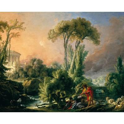 Puzzle  Dtoys-72696-BO-02 François Boucher: River Landscape with an Antique Temple