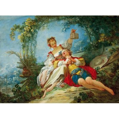 Puzzle  Dtoys-72702-FR02-(74997) Jean-Honoré Fragonard: Happy Lovers
