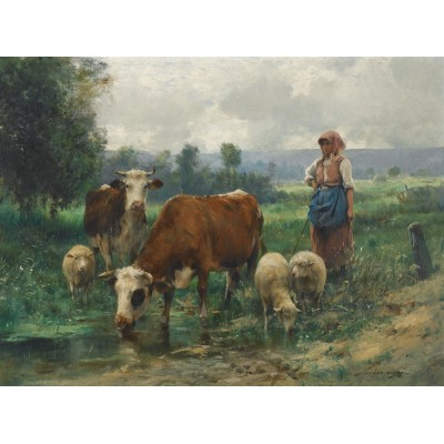 Puzzle  Dtoys-72788-DU02 Julien Dupré: A Shepherdess with her Flock