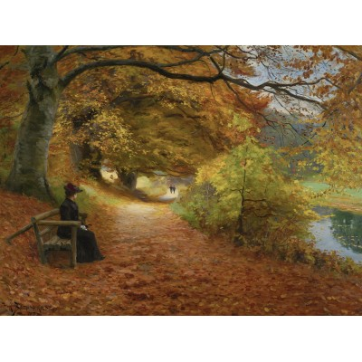 Puzzle  Dtoys-72795-BR02 Hans Andersen Brendekilde: A Wooded Path in Autumn
