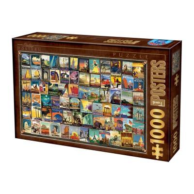 Puzzle Dtoys-74362-VC02-(74621) Vintage Collage - Travel