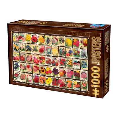 Puzzle Dtoys-74362-VC03-(74492) Vintage Collage - Blumen