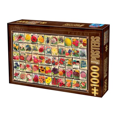 Puzzle  Dtoys-74492 Vintage Collage - Blumen