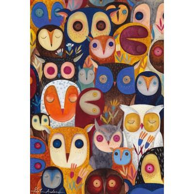 Puzzle  Dtoys-74508 Andrea Kürti: Collage - Eulen