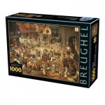 Puzzle  Dtoys-76885 Pieter Brueghel the Elder - The Fight Between Carnival and Lent