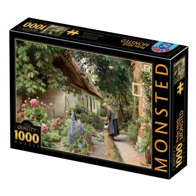 Puzzle Dtoys-77646 Peder Mørk Mønsted - An Old Woman Watering the Flowers Behind a Thatched Farmhouse