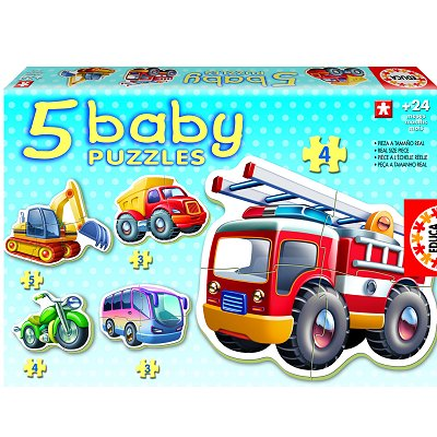 Educa-14866 Puzzle progressiv - 5 Baby Puzzle - Fahrzeuge