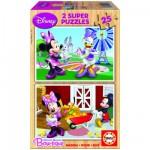 Educa-15279 Puzzle 2 x 25 Teile - Holzpuzzle - Mickey und seine Freunde: Minnie