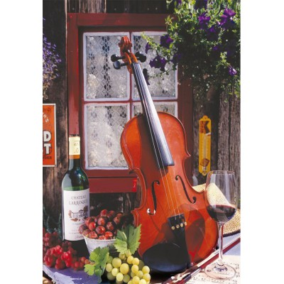 Puzzle Educa-15790 Alberto Rossini - Violin and Still Life with Grapes