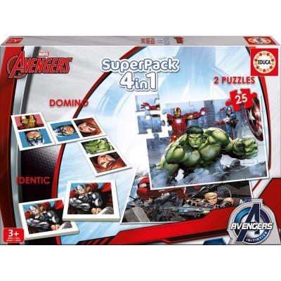 Puzzle  Educa-16692 Superpack 4 in 1 - Marvel Avengers