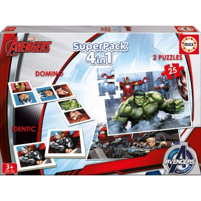 Puzzle Educa-16692 Superpack 4 in 1 - Marvel Avengers