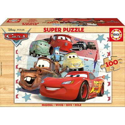Educa-16800 Holzpuzzle - Cars