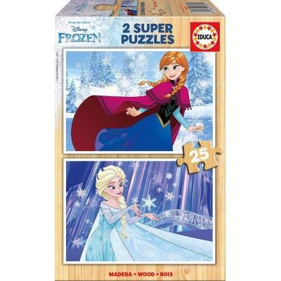 Educa-16801 2 Holzpuzzles - Frozen