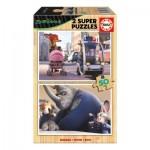 Educa-16804 2 Holzpuzzles - Zootropolis