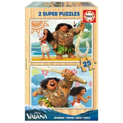 Educa-16949 2 Holzpuzzles - Vaiana
