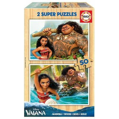Educa-16950 2 Holzpuzzles - Vaiana